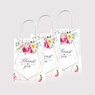 LJCL 12 Pack Floral Thank you Goodie Candy Gift Treat Bags Summer Rose Flower Kids Birthday Party Favor Supplies for Girls Baby shower ,Christmas Party .Thanksgiving Bubbly Bar Champagne Brunch Baby Wedding Bridal Shower Engagement Birthday Party Fiesta