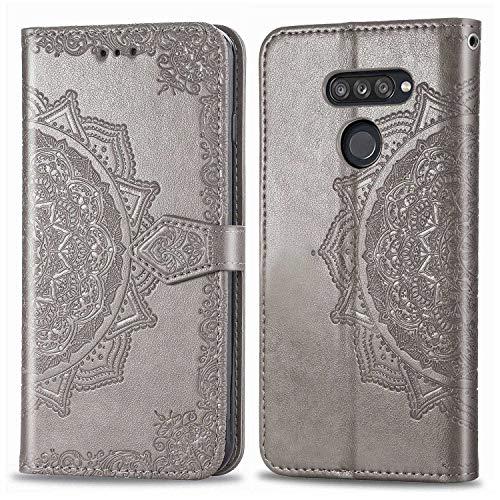 Bear Village Hülle für LG K50S, PU Lederhülle Handyhülle für LG K50S, Brieftasche Kratzfestes Magnet Handytasche mit Kartenfach, Grau