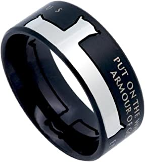 North Arrow Shop Armour of GOD Black Bible Verse Ring, Ephesians 6:11, Stainless Steel Sideways Cross