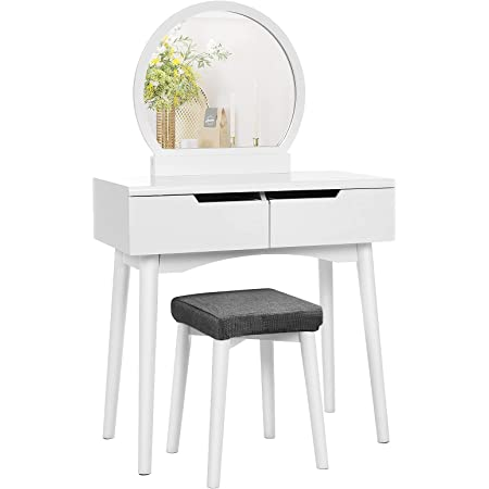 VASAGLE Vanity Set, Makeup Dressing Table with Round Mirror, 2 Large Drawers with Sliding Rails, Cushioned Stool, 31.5 x 14.8 x 50.4 Inches, White