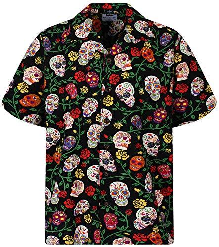 DC Original Camisa Hawaiana, Skulls, negro, L
