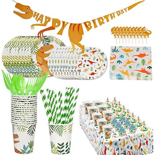 UHAPEER Set fiesta cumpleaños dinosaurios, accesorios fiestas jóvenes, decoración para 16 invitados,...