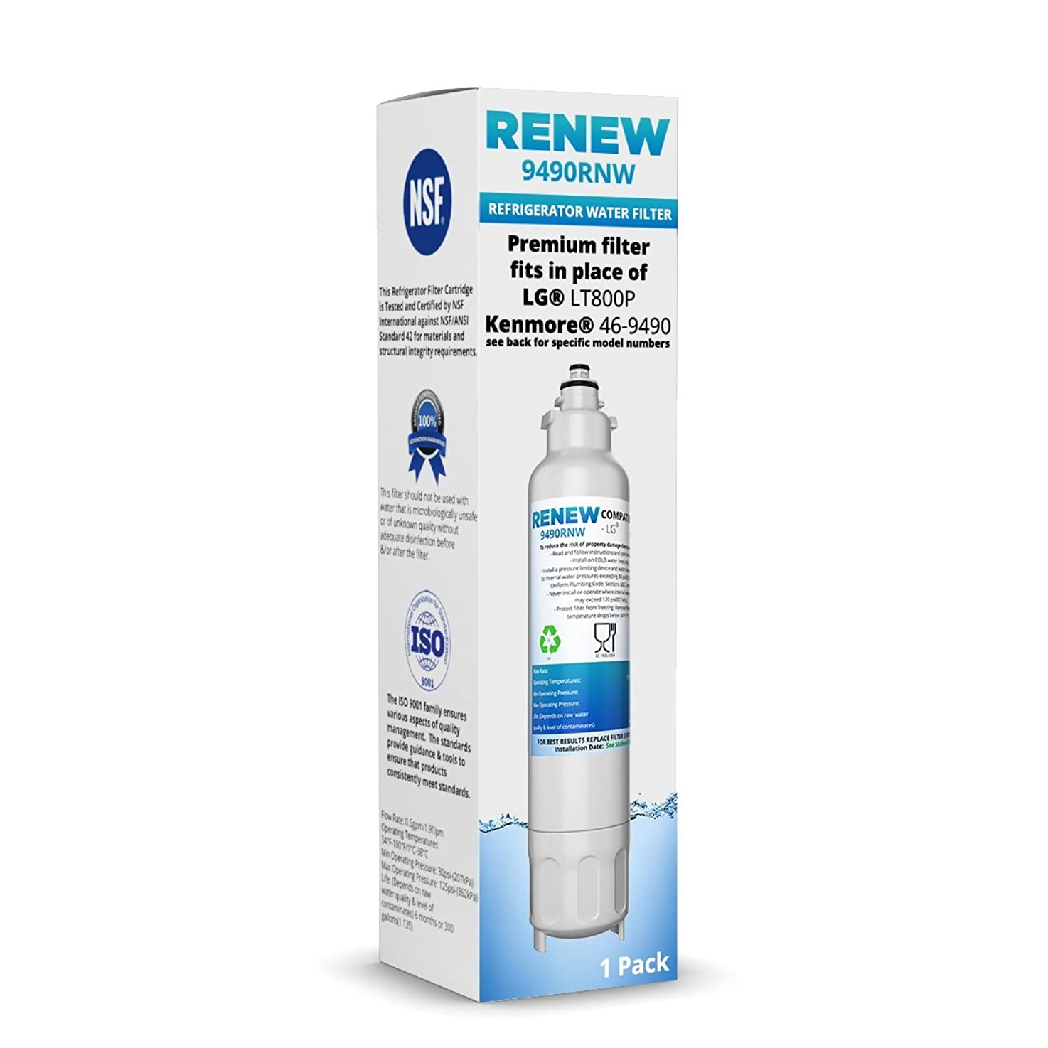 Renew Replacement for LG LT800P, ADQ73613401 and Kenmore Elite 46-9490, 9490, 469490, ADQ73613402 Refrigerator Water Filter (1 Pack)