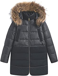 Women's Down Winter Jacket Long Parka Coat with Raccoon Fur Hooded with 100% Goose Down Puffer Jacket.