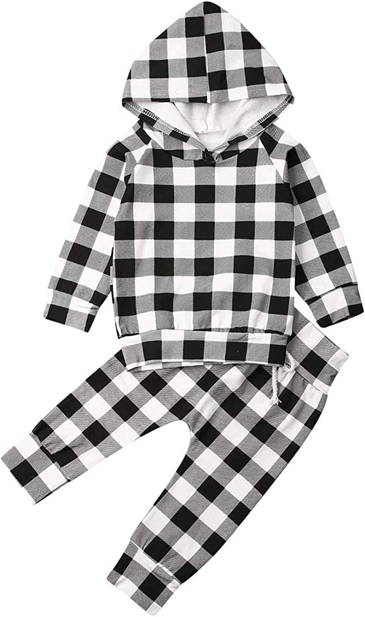YDuoDuo Baby Toddler Boys Girls Spring Fall Outfits Long Sleeve Plaid Hoodie Shirt Tops + Pants Fashion Clothes Set