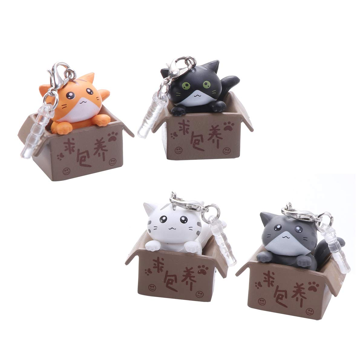 UKCOCO Cute Cat in Boxes Dust 3.5mm Universal Denver Mall Silic Stopper Max 57% OFF Plug