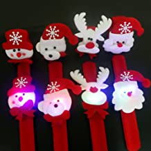 Bluelans® Pack of 4 Christmas Wristbands Bracelets Slap Wrist Bands Xmas Party Favors Bag Fillers Christmas Stocking Fillers for Kids Adult Gifts (#2)