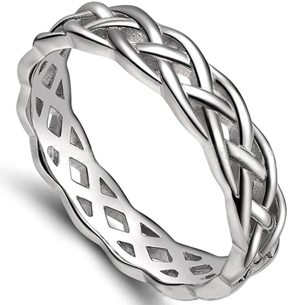 4mm Stainless Steel Celtic Knot Eternity Wedding Engagement Band Ring