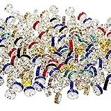 200 Piezas de Abalorios Espaciadores, Incluye 100 Piezas de Cuentas Espaciadoras de Cristal de Tono de Plata y 100 Piezas de Abalorios Sueltos de Colores Variados para Fabricación de Bisutería