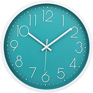 MOD CLOX Modern Wall Clock Non-Ticking Sweep Movement Battery Operated Clocks Decorative Living Room/Bedroom/Office/Kitchen 12 Inch Teal