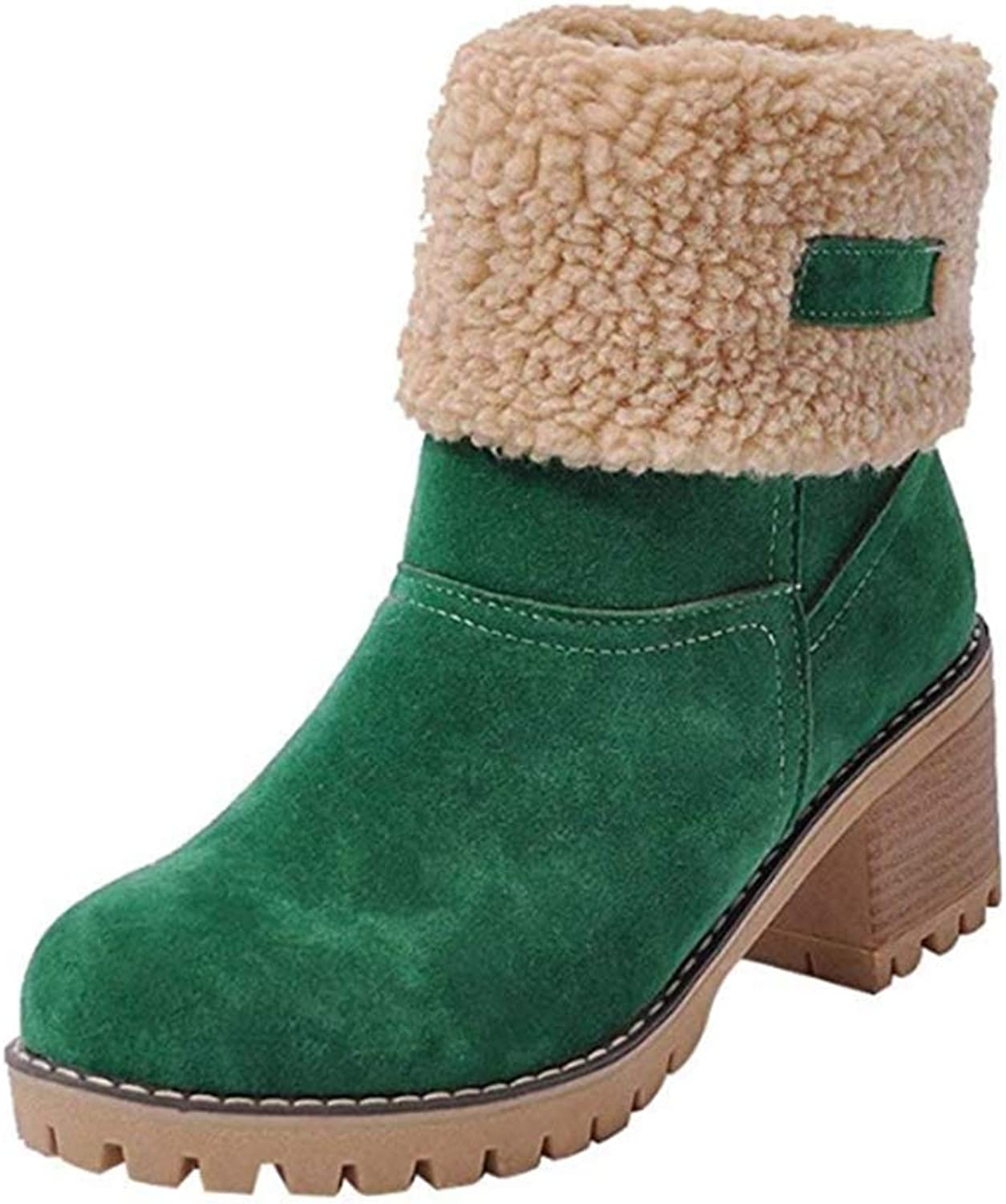 Women's Winter Short Boots Round Toe Suede Chunky Low Heel Warm Ankle Snow Booties,B,40