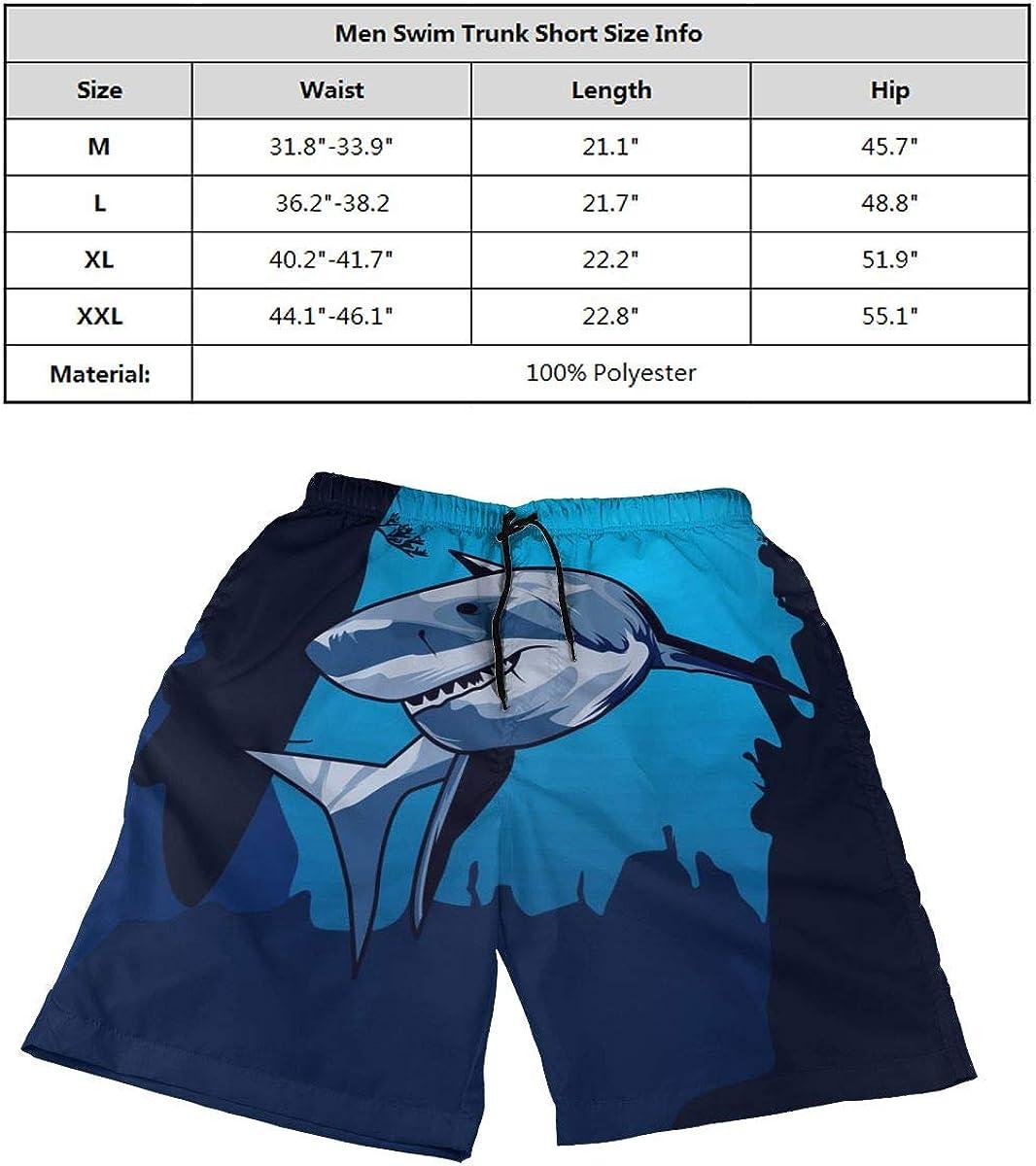 DASMUS Shark On Deep Ocean Mens Quick Dry Beach Board Shorts Swim Trunks with Mesh Lining