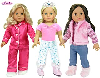 3 Complete 18 Inch Doll Outfits for Winter | 11 Piece Set Includes 2 Mix and Match Winter Outfits, Ice Skates, Boots, Tiara, Slippers and Pajamas for Dolls