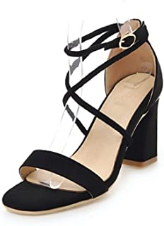 4 Colors Size 33-43 Vintage Women High Heel Sandals Women Ankle Strap Open Toe Thick Heel Sandals Summer Club Shoes Black 1 10