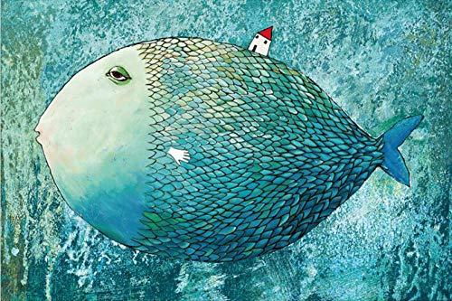 Puzzle 1000 Pezzi Adulti,Balena Blu di Acque Profonde,DIY Legno Puzzles 50X75Cm,Decompressione Gioco per Bambino Adulto,Fai da Te Puzzle Decorazione della Casa