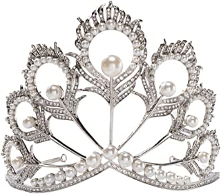 S SNUOY Miss Universe Crown Pearl Rhinestone Tiara Pageant Queen Crown Wedding Hair Jewelry