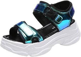 PAQOZ Women's Flats Sandals, New Sport Open Toe Wedge Sandals Hollow Outdoor Cool Platform Shoes