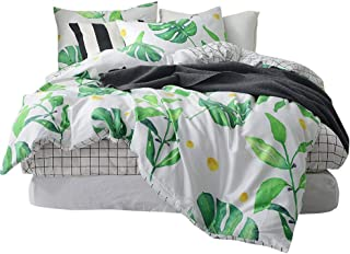 BuLuTu Palm Tree Leaves Print Cotton Twin Kids Bedding Cover Sets for Boys Girls Reversible Nature Lattice Duvet Cover Sets White Twin Comforter Cover Zipper Closure with Ties,NO Comforter