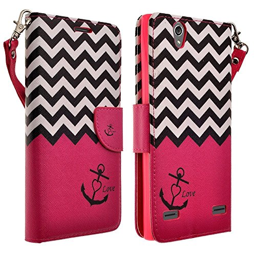 Galaxy Wireless Compatible for ZTE Warp Elite Case - Magnetic Leather Folio Flip Book Wallet Pouch Case Cover with Fold Up Kickstand for ZTE Warp Elite (Boost) - Hot Pink Anchor
