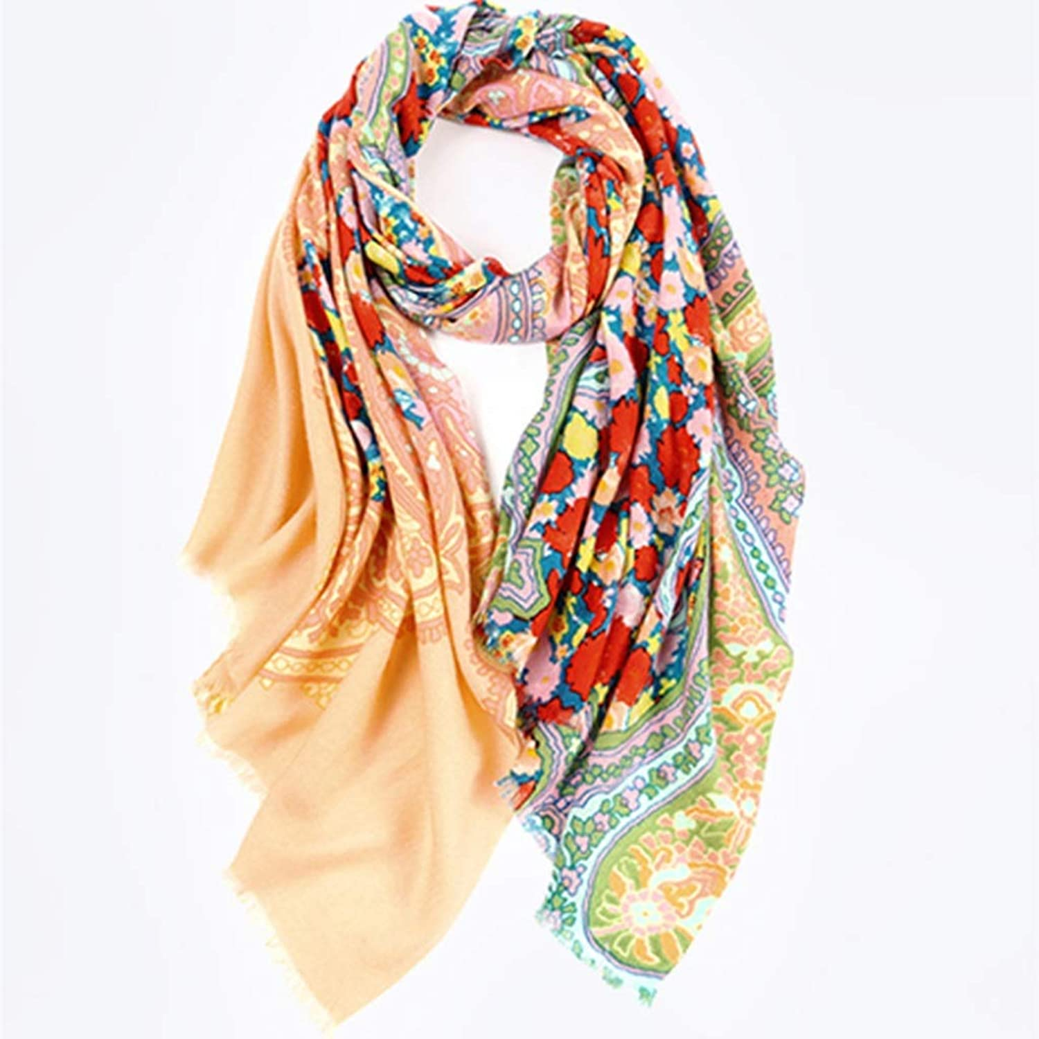 Autumn and Winter Printed Scarf Long Scarf Ladies Wild Warm Shawl (color   D)
