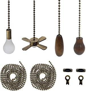 Yotek Ceiling Fan Pull Chain Bronze Pendant Ceiling Fan Danglers Light Bulb Fan Shaped Walnut Wooden Fan Strings Pulls Chain Extender With 4 Ball Chain Connector (2 Pack)
