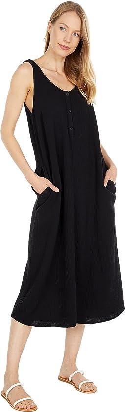 Double Layer Gauze Double Scoop Midi Dress