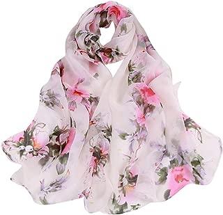 WILLBE Ladies Shawl Scarves Fashion Women Peach Blossom Printing Long Soft Wrap Scarf Lightweight Flower Shawl Scarf