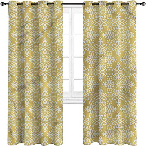 Interestlee Farmhouse Curtains, Victorian Grommet Drapes for Patio Pergola Porch Deck, Baroque Style Ornament Set of 2 Panels, 72 Width x 63 Length