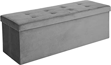 SONGMICS Folding Storage Ottoman Bench, Modern Rectangular Storage Chest Footstool, Upholstered Tufted Toy Chest, Velveteen, Gray ULSF73GY