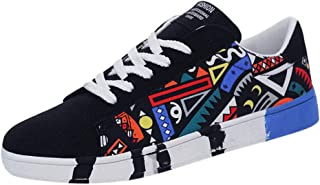 Sunhusing Men's Stylish Graffiti Printed Canvas Flat Shoes Casual Lace-Up Running Shoes Sneakers
