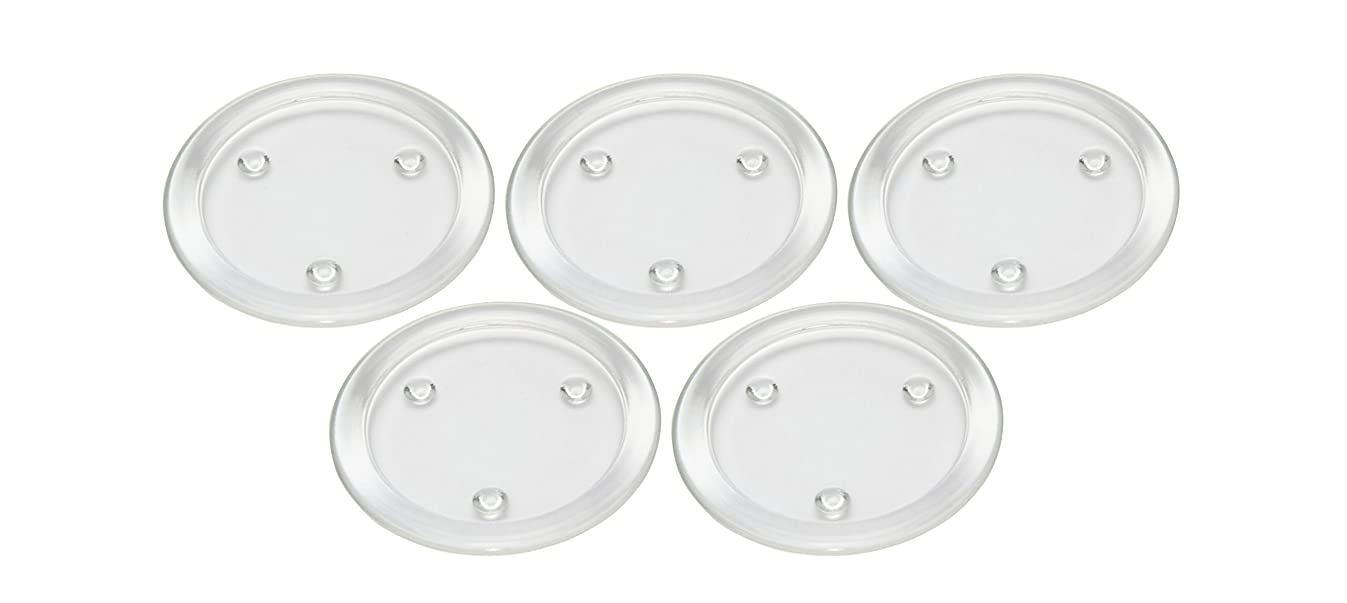 Obecome Round Clear Glass Pillar Candle Holder Plate for Wedding,Set of 5