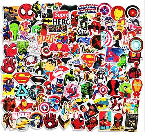 Cartoon Marvel Superman Avengers Suitcase Stickers Guitar Decorative Panel Skateboard Computer Stickers 100 Sheets