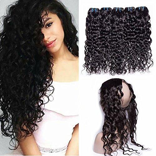 Maxine Cheveux humains ondulés mouillés et ondulés avec dentelle frontale 360 degrés 9A Remy cheveux pré-épilés avec mèches ondulées pour femme noire