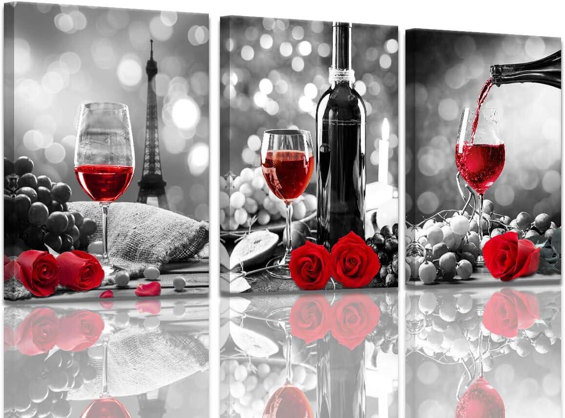 Weindekor Küche Leinwand Kunst Rotwein Rose Kunstwerk für Hauswände,  Schwarz und Weiß mit Rotweingemälde, gedruckte Esszimmer Dekor rote  Küchenbilder ...