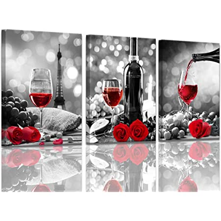 Amazon Com Wine Decor Kitchen Canvas Art Red Rose Artwork For Home Walls Black And White With Painting Printed Dining Room Pictures Wall Stretched