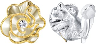 Fashion Flower Design Gold Plated Clip-on Earrings for Women with CZ