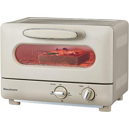 モノクローム オーブントースター 1000W レトロ ホワイト MOS-1028/W [Amazon限定ブランド]