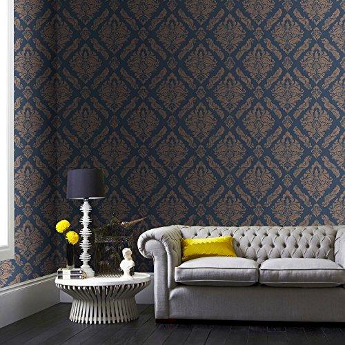 Boutique Blauw/Goud Damaris Damask Luxe Metallic Behang