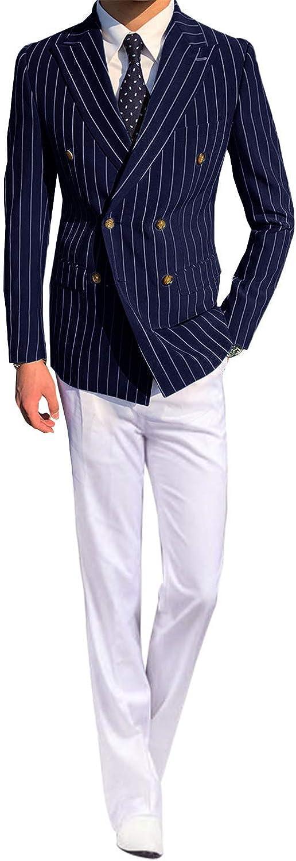 HOTK Men's Suits 2 Piece Stripe Peak Lapel Double Breasted Formal Suits Slim Fit Groom Tuxedos