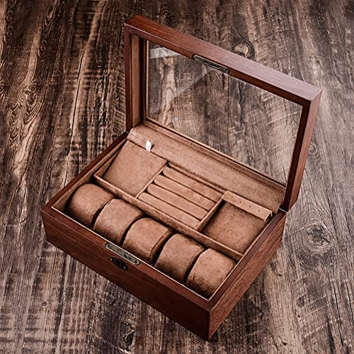 ACMHNC Caja Joyero para Mujer, Caja de Joyas Relojes de Madera con Cerradura, Organizador Estuche Joyero para Pendientes Anillos Collares