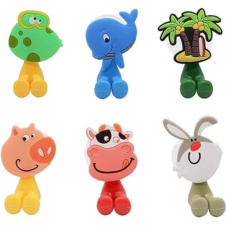 whatUneed Portaspazzolino per Bambini, Supporto per spazzolino a Muro con Ventosa Animale Carino (Confezione da 6 Pezzi)