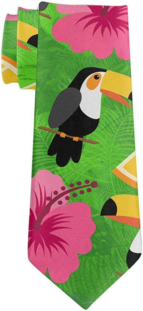 Tropical Vacation Toucan Pattern All Over Neck Tie