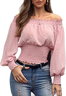 CBTLVSN Womens Off Shoulder Chiffon Basic Style Long Sleeve Ruffle Blouse Tops