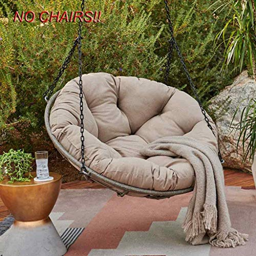 N / A N AOversized Seat Cushion, Balcony Hammock Cart from Nest Food, Cushion On Suspended from Egg of Swing Chair Cotton Cushion Chair, Interior Exterior Papasan Chair Cushion,Khaki,diamèt.