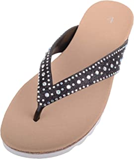 ABSOLUTE FOOTWEAR Womens Slip On Summer/Holiday Flip Flops/Sandals/Shoes with Diamante