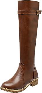 Botas Equitacion Mujer Casual Otoño Invierno Cremallera Planas Correa Cómodo Rodilla Botas Altas De BIGTREE