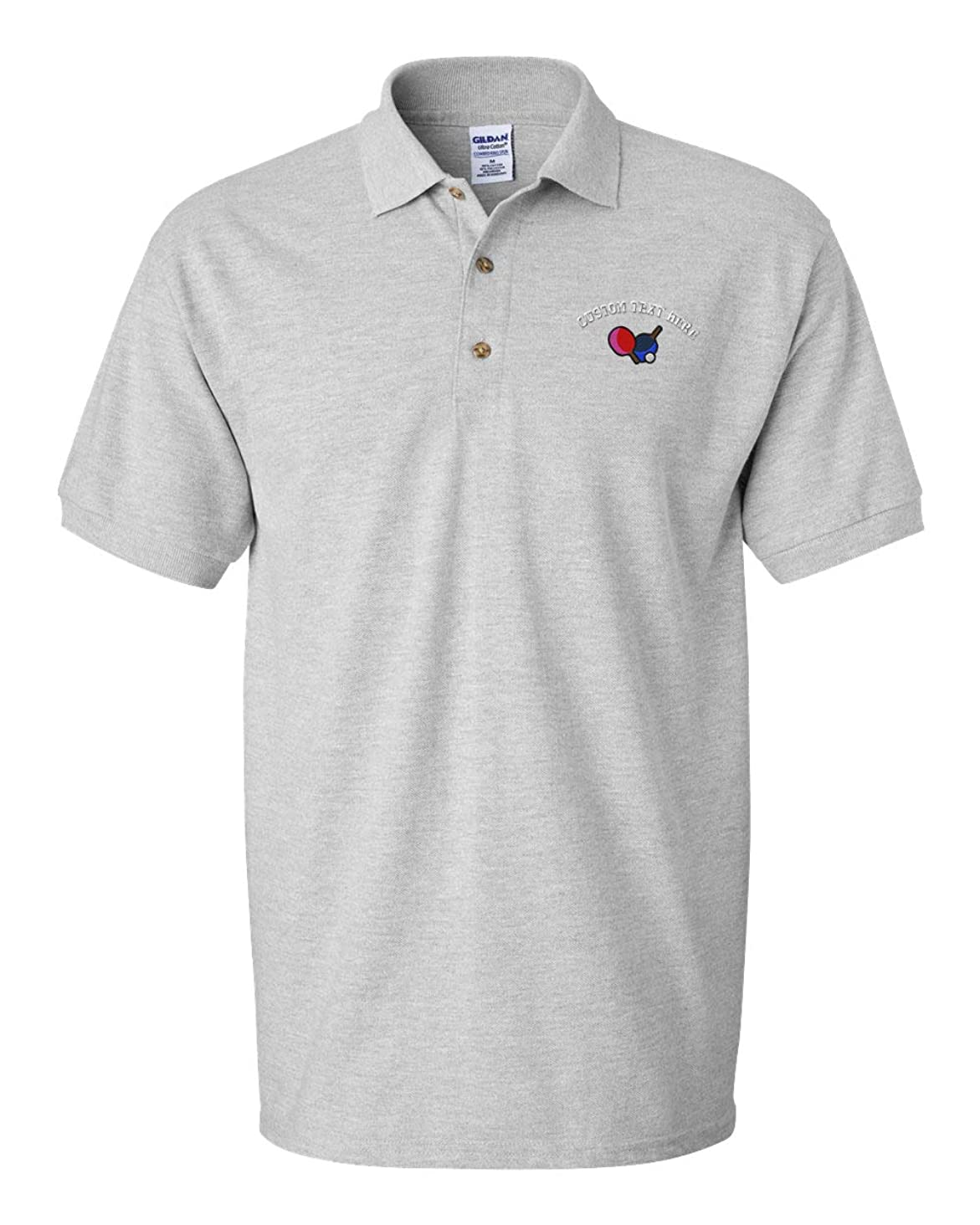Custom Text Embroidered Table Tennis Men's Short Sleeve Cotton Polo Golf Shirt