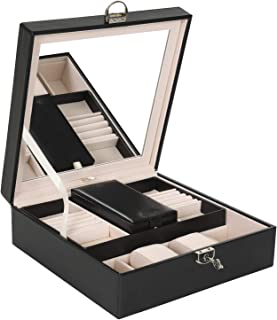 Lark and Harper Jewelry Box-Jewelry Organizer with Mini Travel Case & Mirror-Faux Leather Design with Velvet Interior