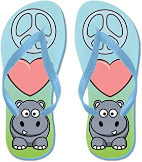 Lplpol Peace Love Hippo Flip Flops for Kids and Adult Unisex Beach Sandals Pool Shoes Party Slippers