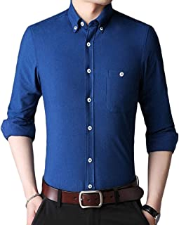 MK988 Men Corduroy Shirt Long Sleeve Stylish Button Down Regular Fit Solid Color Shirt